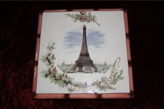 terre De Fer Eiffel Tower Tour Teapot Stand Cir 1900 photo