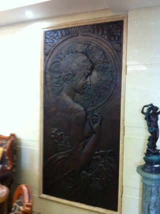 Pair Of Wonderful Huge Art Nouveau Bronze Wall Panels - 217cm X 105cm - Ladies photo