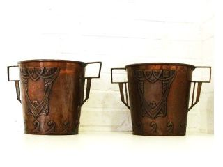 A Pair Vintage Art Nouveau Copper Brass Ice Bucket Champagne Or Wine Cooler photo