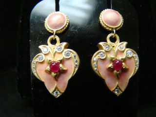Gorgeous Art Nouveau Style Enamel And Diamond Earrings photo