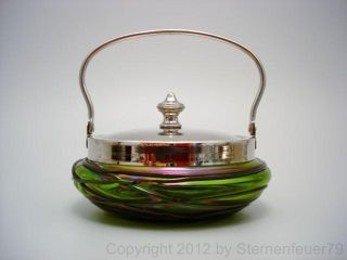 Top Art Nouveau Iridescent Green Glass Jar Pallme Koenig Loetz Kralik Vase Bowl photo