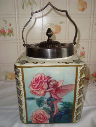 Brathwaites Fairy Lustre Ware Cumbria Ceramic Biscuit Jar photo