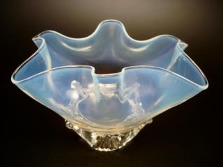 Top Vintage Opalescent Glass Bowl Jar Candy Cookie Biscuit photo