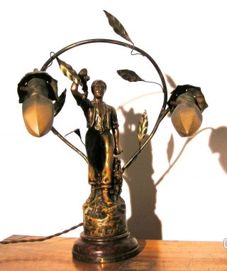 Antique Electic Lamp By A.  Ruchot,  Circa 1900 photo