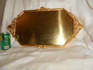 Antique Gold Plated Brass Convex Picture Frame Art Nouveau Orig Certificate photo