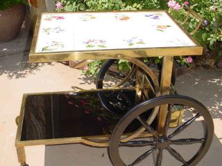 Gorgeous Tole French Tiled Top Tea Cart Hollywood Regency Brass Glass Wonderful photo