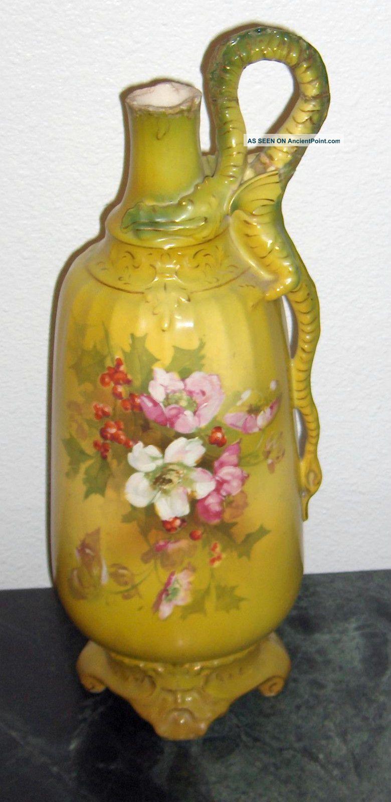 Turn Teplitz Amphora Pitcher Ewer Austria Art Nouveau Dragon Flowers Green Large Art Nouveau photo