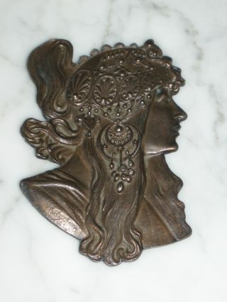 Art Nouveau Vintage Alphonse Mucha Bronze Belt Buckle photo