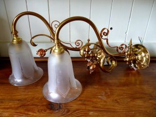 Art Nouveau Copper And Brass Wall Lights (was Benson) Pair photo