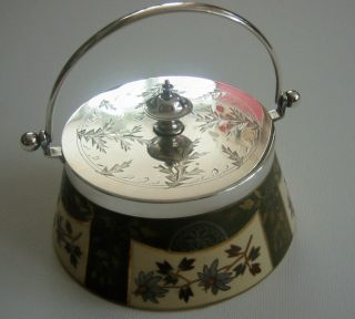 Art Nouveau Lidded Bowl: Silver Lid,  Handle & Rim Floral Bone China Lidded Bowl. photo