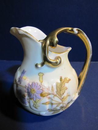 Rare Antique Rudolstadt Works Creamer Scalloped Embossed Gold Trim 1904 - 1924 photo
