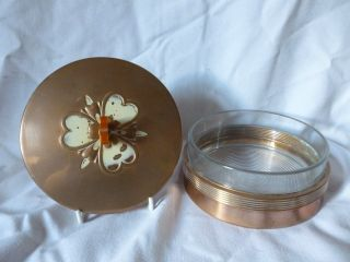 Vintage/antique Art Deco/nouveau Style Trinket Box Copper & Glass By Chase (usa) photo