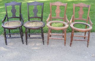 4 Early Art Nouveau / Victorian Burled Walnut Chairs photo