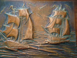 Copper Arts And Crafts Sailing Boats Mounted Wall Plaque John Pearson Newlyn photo