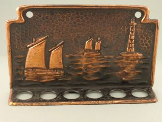 Hayle J & F Poole Copper Pipe Holder Rack Newlyn Lighthouse Lugger Arts & Crafts photo