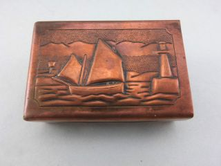 Newlyn Copper Matchbox Holder Lighthouse Lugger Sailboat Cornish Arts And Crafts photo
