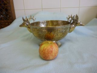 Arts And Crafts Hand Hammered Bowl With Stag Head Handles photo
