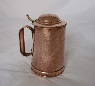 Outstanding Arts & Crafts Lidded Copper Jug By Henry Loveridge C.  1890 photo