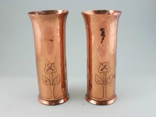 Pair Keswick Ksia Arts And Crafts Copper Spill Vases Art Nouveau photo
