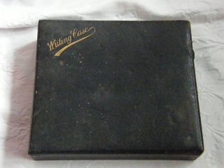 Antique - Edwardian - Leather Bound Writing Case With Orig Dip Pen - Circa 1910 photo