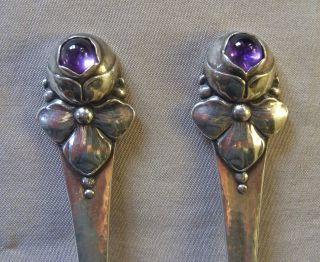 Danish Silver & Amethyst Spoons Grann & Laglye Denmark 1930,  Like Georg Jensen photo