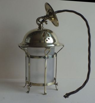 Lovely Vintage Arts And Crafts Small Brass & Glass Lantern Art Nouveau C.  1910 photo