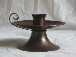 Vintage Roycroft Arts & Crafts Hammered Copper Candle Holder Candlestick V Clean photo