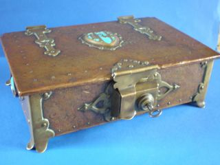 Stunning Antique Arts & Crafts Movement Copper Box With Ruskin Plaques photo