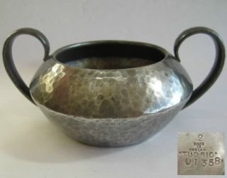Vintage Tudric Arts & Crafts Hammered Pewter Sugar Bowl photo
