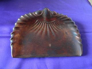 Vintage Arts & Crafts Shell Shaped Crumb Tray Man & Fork Mark photo