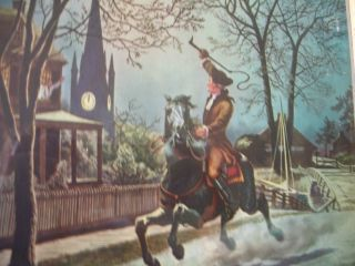 Set Of Four Antique Framed 1942 Lithographs Of Paul Reveres Ride Must See photo