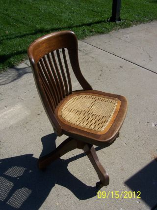 Antique Office Chair Circa 1914 - Mission Oak Slat Back Style photo