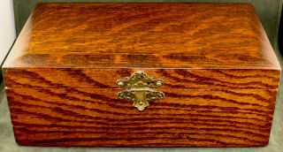 Gorgeous Quarter Sawn Oak Antique Mission Oak Arts & Crafts Hinged Document Box photo