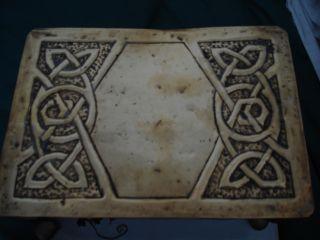 A Arts & Crafts Brass Trivet With Celtic Motifs photo