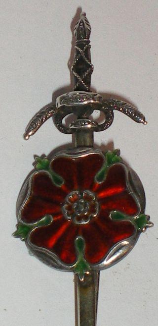 Antique Art Craft Silver Enamel Tudor Rose Brooch Wilson & Gill Regent St London photo