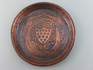 ' Cornwall One And All ' Copper Pin Dish Hayle J & F Poole Eustace Arts & Crafts photo