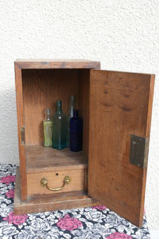 Arts And Crafts Solid Oak Chapel Communion Wine Cabinet With Lock & Key Tantalis photo