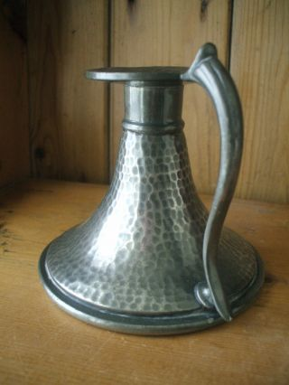 Antique Arts & Crafts Hand - Hammered Pewter Candlestick By Abbey Pewter photo