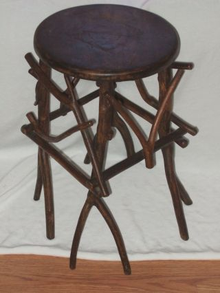 Antique Folk Art Wood Twig Stool Arts & Crafts ~ Unusual Shabby photo