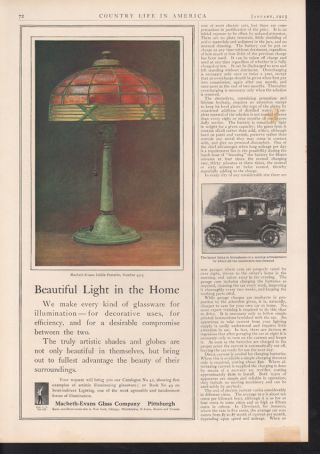 1913 Macbeth Evans Glass Lamp Electric Light Home Decor photo