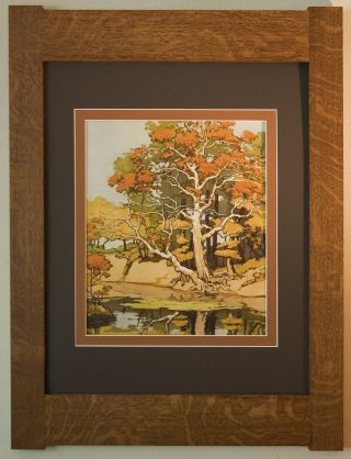 Mission Style Art Quartersawn Oak Arts & Crafts Framed Print - Old Sycamore photo