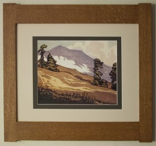 Mission Style Quartersawn Oak Arts & Crafts Framed Print - Foggy Mountain photo