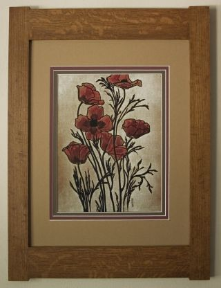 Mission Style Art Quartersawn Oak Arts & Crafts Framed Print - Poppies photo