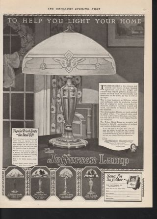 1923 Jefferson Electric Lamp Home Decor Appliance Ad photo
