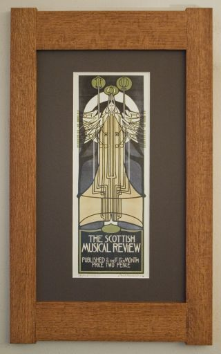 Mission Style Quartersawn Oak Arts & Crafts Framed Print Scottish Musical Review photo