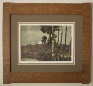Mission Style Bungalow Quartersawn Oak Arts & Crafts Framed Print - Rising Moon photo