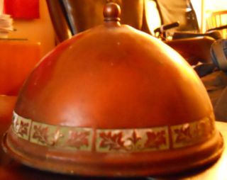 Rare Antique Arts & Crafts Mission Copper Lampshade Shade Clips On Lightbulb photo