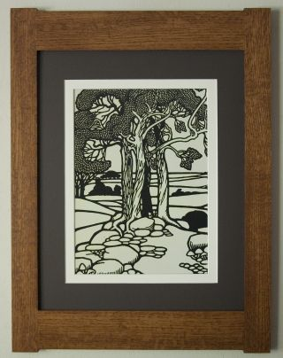 Mission Style Quartersawn Oak Arts & Crafts Framed Print - Study Of An Oak photo