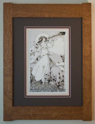 Mission Style Quartersawn Oak Arts & Crafts Framed Print - Jessie M King Clarion photo