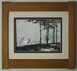 Mission Style Quartersawn Oak Arts & Crafts Framed Print - Alpine Woodblock photo